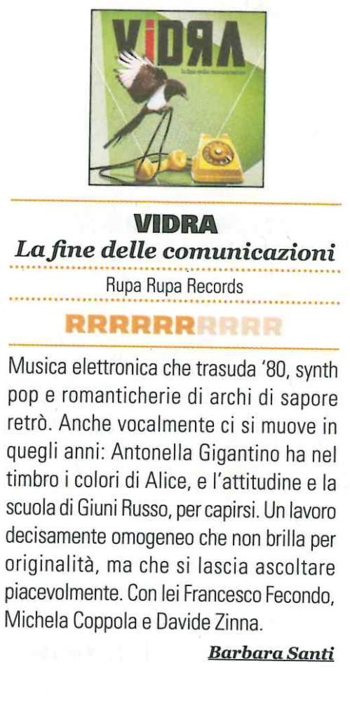 Rumore Vidra synthpop technopop recensioni review la fine delle comunicazioni synth viola
